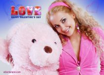 eCards  Pink Teddy Bear and Love,