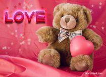 eCards Valentine's Day  Teddy Bear With Heart, Teddy Bear With Heart