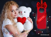 eCards Valentine's Day  White Teddy Bear with Heart, White Teddy Bear with Heart