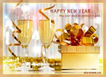 eCards New Year Gold Greeting eCard, Gold Greeting eCard