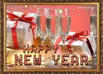 eCards New Year Golden Wishes, Golden Wishes