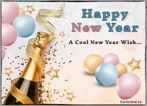 Free eCards, e-Cards with music - A Cool New Year Wish,