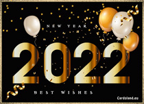 Free eCards, Free musical greeting cards - Gold New Year 2021,