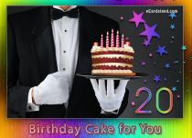 Free eCards - 20th Birthday Cake,