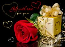 eCards  Gift with Rose for You,