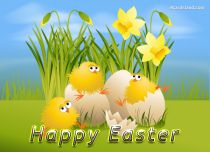 Free eCards - Happy Easter Chicks,
