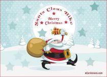 eCards Christmas Santa Claus Hike, Santa Claus Hike