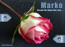 Free eCards Name Day - Men - Accept the Name Day Rose,