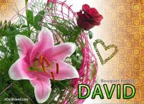Free eCards Name Day - Men - Bouquet for David,