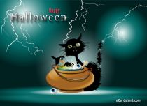 eCards  Black Cat and Halloween,