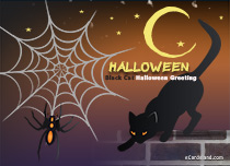 eCards Halloween Black Cat Halloween Greeting, Black Cat Halloween Greeting